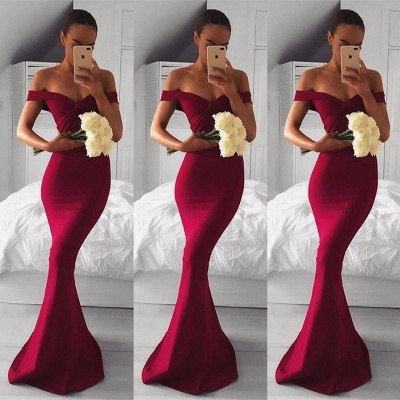 Modern Red Long Off-the-shoulder Mermaid Prom Dress_3