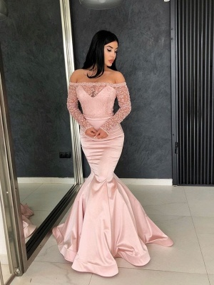 Glamorous Mermaid Off-the-Shoulder Prom Gowns | Long Sleeve Lace Evening Dresses_1