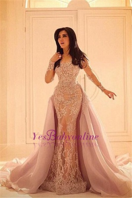 Sexy Overskirt Lace Sleeves Appliques Long Luxurious Mermaid Evening Dresses_1