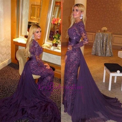 Delicate Lace Long-Sleeve Sequined Mermaid Sweep-Train Prom Dress_1