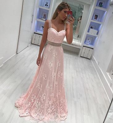 Strape lace A-line Elegant prom dresses_3