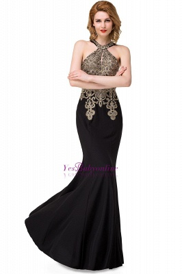 Sleeveless Halter Appliques Black Crystal Mermaid Sexy Prom Dress_1