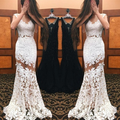 Sexy White Mermaid Prom Dresses Lace Appliques Sheer Sleeveless Evening Gowns_4