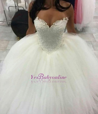 Glitter Ball Gown Wedding Dresses | Sleeveless Sweetheart Neck Lace Princess Bridal Gowns_1