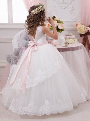 Lovely Tulle Lace Scoop Flower Girl Dresses   Sleeveless Floor Length Ball Gown Girls Party Dresses_3