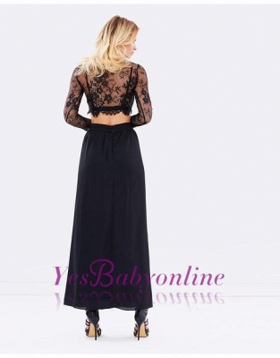 Two-Piece Lace Long-Sleeves Sexy Black Prom Dresses_1