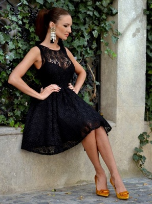 Elegant Sleeveless Homecoming Dresses | A-Line Scoop Black Cocktail Dresses_3