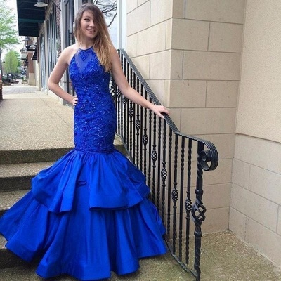 Blue Mermaid Halter Prom Dresses | Long Appliques Sleeveless Evening Gowns_3