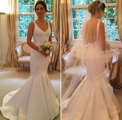 Glamorous V-Neck Sleeveless Open-Back Mermaid wedding Dress_3