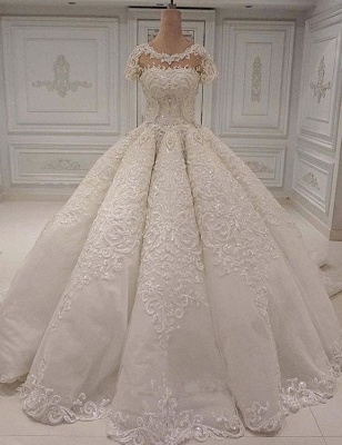 Round Neck Short Neck Beaded Sparkly Ball Gown Wedding Dresses_1