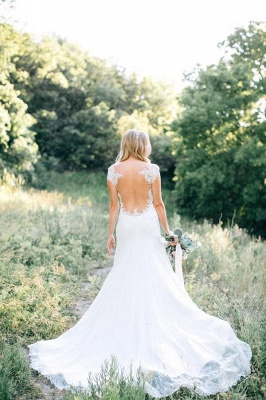 Rustic See Through Long Backless Mermaid Lace Wedding Dresses_4
