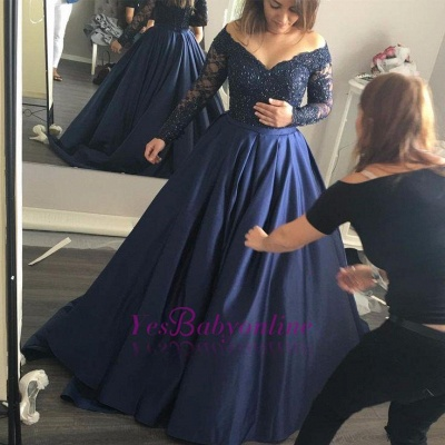 Long-Sleeves Navy-Blue Elegant Lace Off-the-Shoulder Prom Dress_1