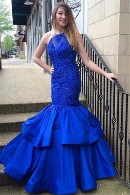Blue Mermaid Halter Prom Dresses | Long Appliques Sleeveless Evening Gowns_1