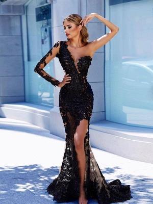 One-Shoulder Modern Black Lace Prom Dress | Front Split Evening Gown BA9571_1