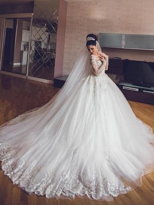 Tulle Lace V-Neck Wedding Dresses | Long Sleeves Classic Wedding Gowns with Appliques_1