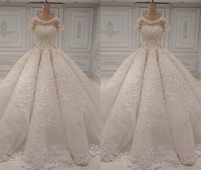 Round Neck Short Neck Beaded Sparkly Ball Gown Wedding Dresses_2