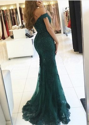 Off-the-Shoulder Lace Charming Mermaid Appliques Dark-Green Evening Dress_3