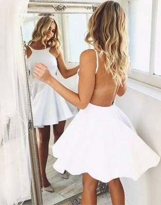 Short-mini A-line Sleeveless Backless White Cute Cocktail Dress_4