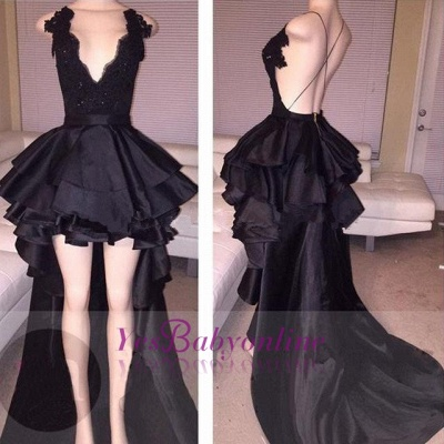 Hi-Lo Lace Layered Sexy Short Cocktail Black Prom Dress_1