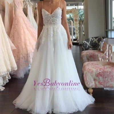 A-line Lace Romantic Spaghetti-Strap Sleeveless Tulle Wedding Dress_1