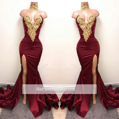 Gorgeous Burgundy Mermaid Prom Dresses Gold Lace Appliques Side Slit Evening Gowns_1