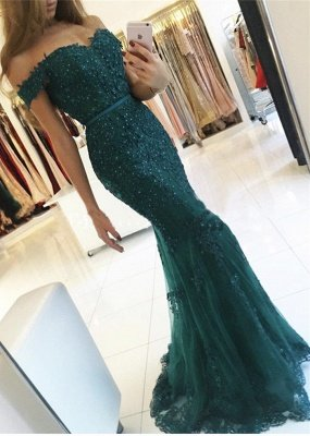 Off-the-Shoulder Lace Charming Mermaid Appliques Dark-Green Evening Dress_2