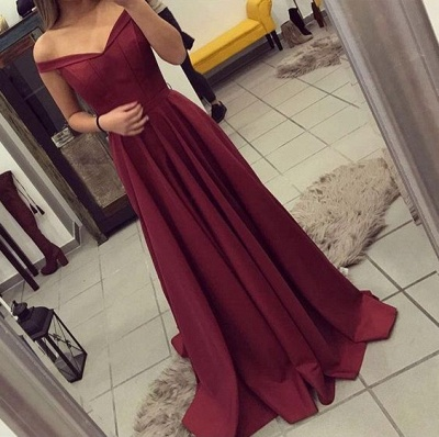 Burgundy A-line Prom Dresses for Teens Off-the-Shoulder Elegant Formal Dresses_2
