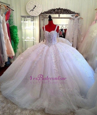 Straps Lace Sparkly Puffy Beading Luxurious Ball-Gown Crystals Wedding Dress_1