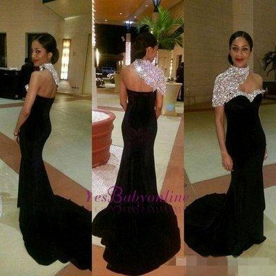 Crystal One-Shoulder Black High-neck Elegant Mermaid Prom Dresses_1