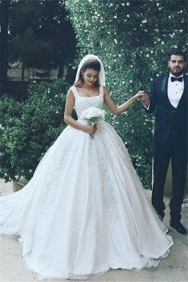 Sleeveless Tulle New Ball Appliques Square Glamorous Wedding Dresses_2