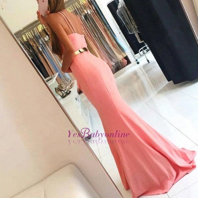 Sleeveless Simple Open-Back Mermaid Halter Evening Dresses_3