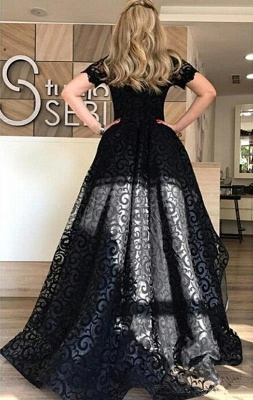 Lace Short-Sleeve Black Hi-Lo Sexy Prom Dress_3