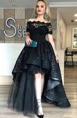 Lace Short-Sleeve Black Hi-Lo Sexy Prom Dress_2