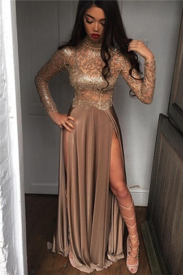 High Sheer Neck Prom Sexy Slit Dresses Side Party Dresses_1