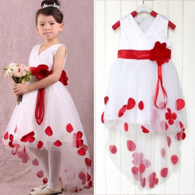 Sweet White V-Neck Hi-Lo Flower Girl Dresses | Unique Affordable Tulle Ball Gown Chidern Dresses with Belt_1
