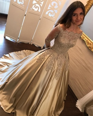 2019 Ball Gown Prom Dresses Off-the-Shoulder Gold Long Sleeves Evening Dresses_3