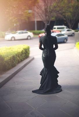 Hi-lo Lace Long-Sleeves Deep-V-Neck Appliques Black Mermaid Puffy Prom Dresses_4