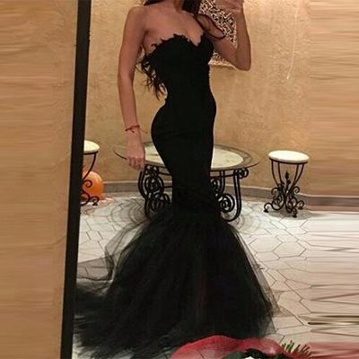 Sweetheart Mermaid Black Tulle Simple Prom Dress_3