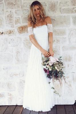 Glamorous Lace Summer Long Short-Sleeve Beach Wedding Dress_2