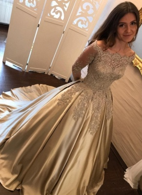 2019 Ball Gown Prom Dresses Off-the-Shoulder Gold Long Sleeves Evening Dresses_1