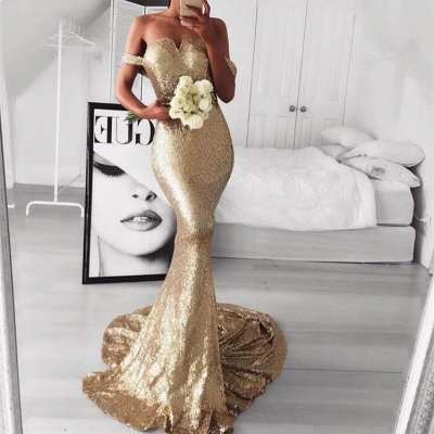 Sexy Off-the-Shoulder Evening Dresses | Sleeveless Mermaid Gold Prom Dresses_3
