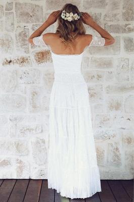 Glamorous Lace Summer Long Short-Sleeve Beach Wedding Dress_4