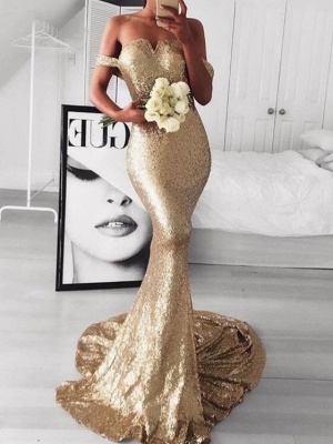 Sexy Off-the-Shoulder Evening Dresses | Sleeveless Mermaid Gold Prom Dresses_1