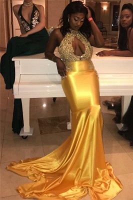 Yellow Halter Sleeveless Applique Lace Mermaid Prom Dress | Sexy Evening Gown_1