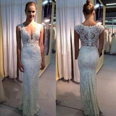 Glamorous Capped Sleeves Deep V-Neck Lace Mermaid Wedding Dresses_3