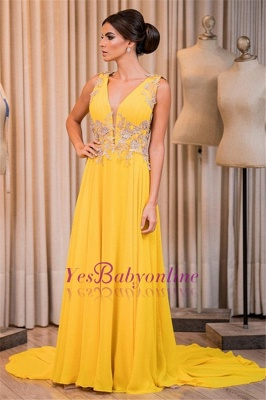 Elegant Sleeveless V-Neck Appliques Prom Dress_1
