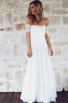 Glamorous Lace Summer Long Short-Sleeve Beach Wedding Dress_3
