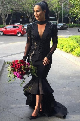 Hi-lo Lace Long-Sleeves Deep-V-Neck Appliques Black Mermaid Puffy Prom Dresses_2