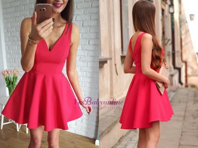 A-line Red Sleeveless Short Simple Straps Homecoming Dress_1