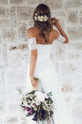 Glamorous Lace Summer Long Short-Sleeve Beach Wedding Dress_5